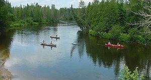 Au Sable River (Michigan) - Canoes along the Au Sable River