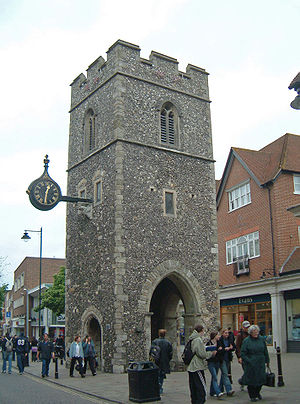 A Canterbury Tale - St George's Church tower, seen in the film after being gutted in the Baedeker raids (modern photograph)