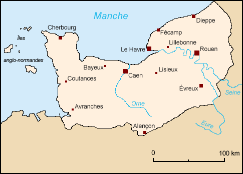 Normandy's historical borders in the northwest of modern-day France and the Channel Islands