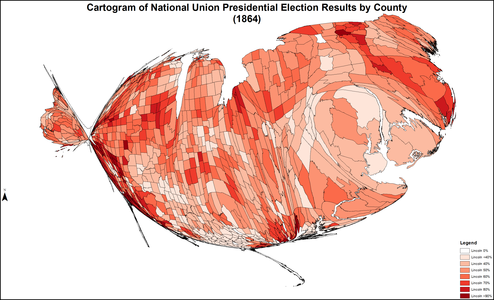 Cartogram of National Union presidential election results by county