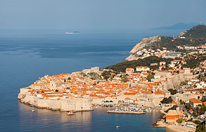 Walls of Dubrovnik - View of the city walls from the South.