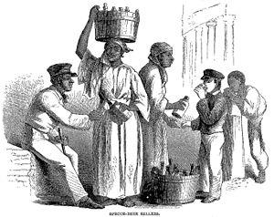 Spruce beer - Spruce beer sellers in Jamaica, c. 1861