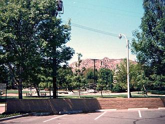 West Hills, Los Angeles - Mae Boyar Recreation Center and Castle Peak as seen from Highlander Road School, 1978.