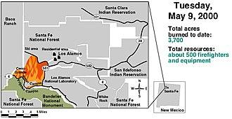 Cerro Grande Fire - Image: Cerro Grande May 9 2000 GAO Fire Progression
