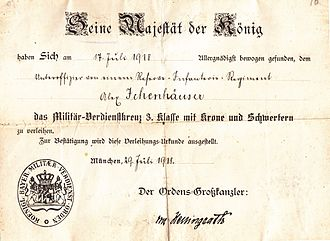 Military Merit Cross (Bavaria) - Certificate of award with 3rd Class with Crown and Swords (1918)
