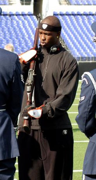 Chad Johnson - Johnson doing his pregame workouts alongside the 70th Intelligence Wing Honor Guard.