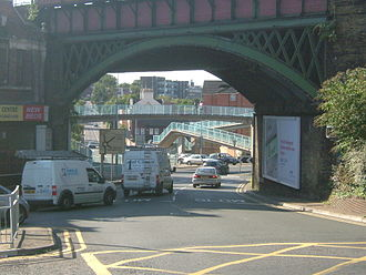 The A2 road at Luton Arches. The New Road runs underneath the Luton Arches Footbridge. ChathamA2LutonArches2784.JPG
