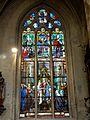 Chaumont-en-Vexin (60), église Saint-Jean-Baptiste, verrière n° 9 IMH - le mariage de saint Louis, par J.F. Roussel, CMH - sainte martyre, St Michel, St Denis, Annonciation.JPG