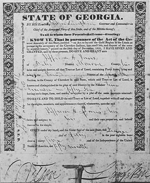 Georgia Land Lotteries - Grant issued to a drawer in the Cherokee Land Lottery of 1832, which dispersed the former Cherokee property among the white settlers in Georgia.