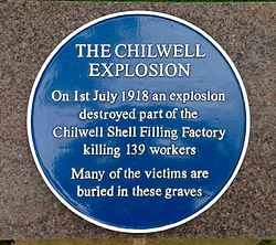 Photo of The Chilwell Explosion blue plaque
