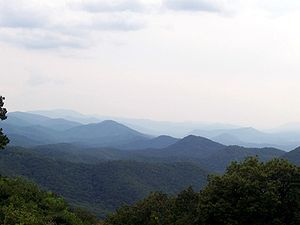 Blue Ridge Mountains - Blue Ridge Mountains, viewed from Chimney Rock Mountain Overlook in North Carolina