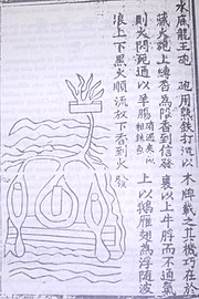 A 14th century drawn illustration of a naval mine and page description from the Huolongjing.