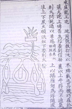 Naval mine - A 14th-century drawn illustration of a naval mine and page description from the Huolongjing