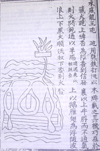 A 14th-century drawn illustration of a naval mine and page description from the Huolongjing Chinese Naval Mine.JPG