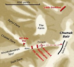 A map depicting the movement of troops during an offensive military operation. Geographic features including spurs, gullies and high ground are depicted, as are the positions of individual units