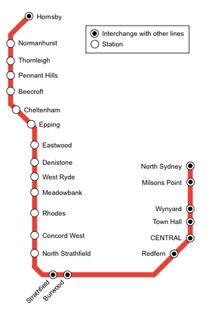 North Shore, Northern & Western Line - Diagram of the Northern Line prior to the opening of the Epping to Chatswood railway line in 2009