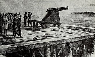 Sewell's Point - The Sawyer gun being demonstrated by Major General Benjamin Butler for Major General Wool at the Rip Raps (Fort Calhoun, later Fort Wool), 1861