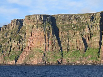 Orcadian Basin - Thick fluvial sandstones of Givetian age exposed in the cliffs on the western coast of Hoy