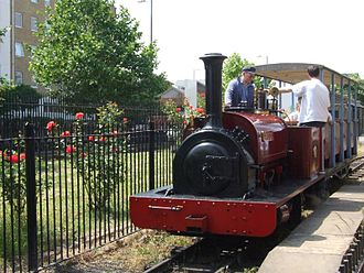 """London Museum of Water & Steam - Locomotive """"Cloister"""" passes the museum garden"""