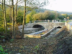 Neath and Tennant Canal - The exit from Clun Isaf lock, restored in 2007