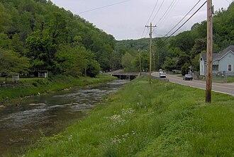 Coal Creek War - Coal Creek emerging from its Walden Ridge water gap in Rocky Top.