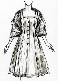 A sketch of a dress being worn, with buttons on the front and elbow length sleeves.