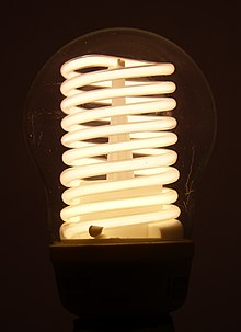A photo of an illuminated compact fluorescent lamp (CFL) of the cold cathode variety