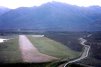 Coldfoot Airport - Approach to Runway 1, June 2008 (Trans-Alaska Pipeline passes nearby).