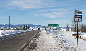 Colorado State Highway 131 - Highway 131 as it passes through Toponas, Colorado.