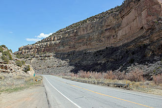 Grand Mesa Scenic and Historic Byway - A view of the highway near mile marker 58, or about 3.5 miles from Interstate-70.