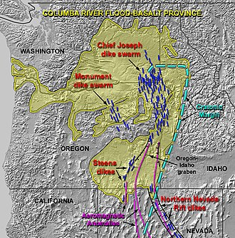 Columbia River Basalt Group - The Columbia River Basalt Group (including the Steen and Picture Gorge basalts) extends over portions of five states.