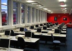 A university computer lab containing many desktop PCs