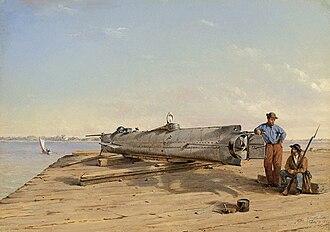 H. L. Hunley (submarine) - Image: Conrad Wise Chapman Submarine Torpedo Boat H.L. Hunley, Dec. 6, 1863