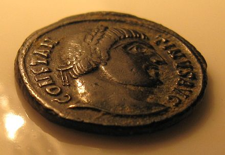 "The portrait of Constantine on a Roman coin; the inscription around the portrait is ""Constantinus Aug[ustus]"" Constantinus.JPG"