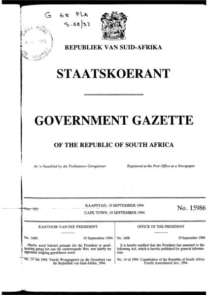 File:Constitution of the Republic of South Africa Fourth Amendment Act 1994 from Government Gazette.djvu
