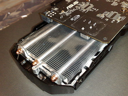 Cooling system of an Asus GTX-650 graphics card; three heat pipes are visible Cooling system on an ASUS GTX-650 Ti TOP Cu-II graphics card.jpg