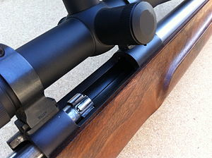 Single-shot - Open action of Cooper Model 22 single-shot rifle