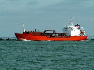 Coral Obelia IMO 9053816 leaving Port of Rotterdam, Holland 08-Apr-2006.jpg