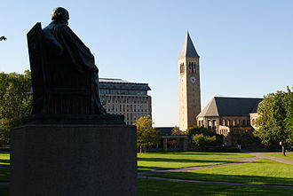 Cornell University - The Arts Quad on Cornell's main campus with McGraw Tower in the background