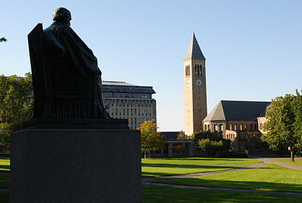 Cornell University's Arts Quad, with a statue of Andrew Dickson White, Cornell's first president, in the foreground. Cornell University arts quad.JPG