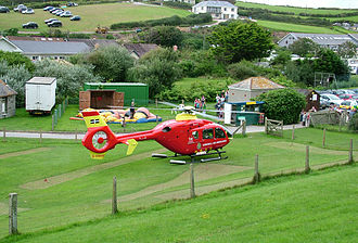 Cornwall Air Ambulance - Take-off from a putting green