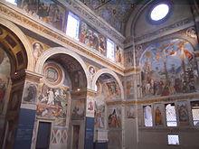Il coro delle monache del monastero di Santa Giulia a Brescia, con gli affreschi di Paolo da Caylina il Giovane (registro inferiore) e Floriano Ferramola (registro superiore), 1527 e ss.