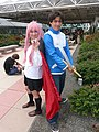 Cosplayers of Louise and Saito, The Familiar of Zero at Otakon 20120729.jpg