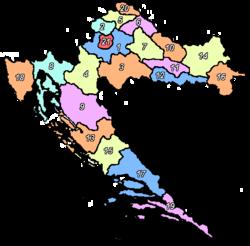 Croacia se divide en 20 condados (en croata ?upanija, plural ?upanije) y 1 ciudad (grad):  1 Zagreb (Zagreba?ka)  2 Krapina-Zagorje (Krapinsko-zagorska)  3 Sisak-Moslavina (Sisa?ko-moslava?ka)  4 Karlovac (Karlova?ka)  5 Vara?din (Vara?dinska)  6 Koprivnica-Kri?evci (Koprivni?ko-kri?eva?ka)  7 Bjelovar-Bilogora (Bjelovarsko-bilogorska)  8 Primorje-Gorski Kotar (Primorsko-goranska)  9 Lika-Senj (Li?ko-senjska ?upanija)  10 Virovitica-Podravina (Viroviti?ko-podravska)  11 Po?ega-Eslavonia (Po?e?ko-slavonska)  12 Brod-Posavina (Brodsko-posavska)  13 Zadar (Zadarska)  14 Osijek-Baranja (Osje?ko-baranjska)  15 ?ibenik-Knin (?ibensko-kninska)  16 Vukovar-Srijem (Vukovarsko-srijemska)  17 Split-Dalmacia (Splitsko-dalmatinska)  18 Istria (Istarska)  19 Dubrovnik-Neretva (Dubrova?ko-neretvanska)  20  Me?imurje (Me?imurska)  21 Zagreb (Grad Zagreb)