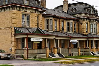 Peterborough, Ontario - Cox Terrace on Rubidge Street, built in 1884 and declared a National Historic Site of Canada in 1991