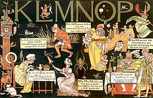 Chromoxylography - Walter Crane's Absurd ABC double-spread with deep black background