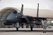 Crew chief marshals an F-15 Eagle during a 33rd Fighter Wing exercise Eglin AFB