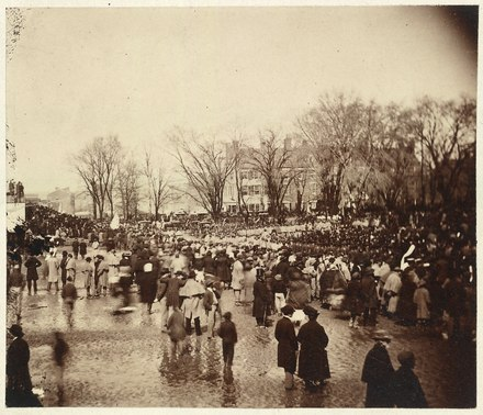 "Large crowd and black troops at Lincoln's second inauguration, March 4, 1865 with as author Tonya Bolden has suggested, ""perhaps Michael Shiner."" Crowd at Lincoln's second inauguration, March 4, 1865 LCCN00650929.tif"