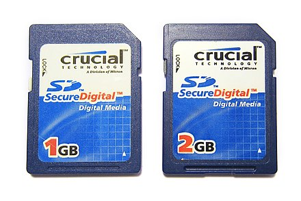 Crucial-branded SD memory cards from 2007. Crucial SD Cards 2007 1GB and 2GB (front).jpg