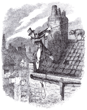 Jacob's Island - Illustrator George Cruikshank depicts Bill Sikes attempt at escape from his rooftop in Oliver Twist.